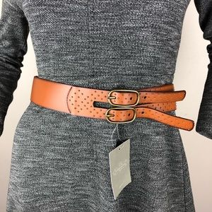 Anthropologie Linea Pelle Brown Gold Leather Belt